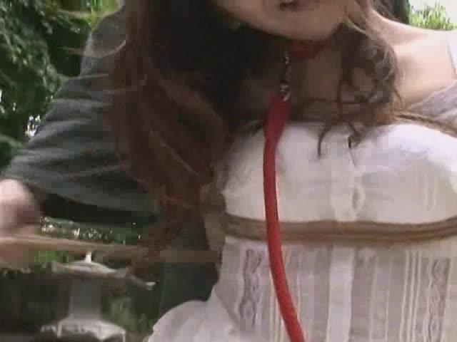 緊縛、首輪をされた美巨乳美女。鬼畜男に性感帯をひたすら弄られる性奴隷調教。